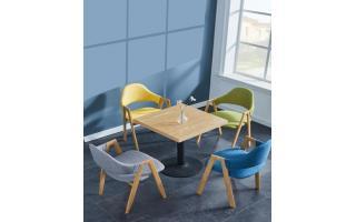 咖啡店桌椅快餐厅桌椅小吃店桌椅休闲餐馆桌椅食堂餐厅桌椅四人分体快餐桌椅ft4-153