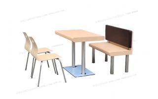 汉堡店卡座椅餐桌椅餐桌椅曲木餐椅不锈钢高档餐桌椅四人餐桌椅卡座椅ftkzy-023