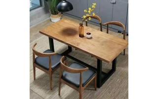 原木餐厅桌椅实木六角椅实木餐桌凳实木整料开的餐桌椅ftsmczy-073